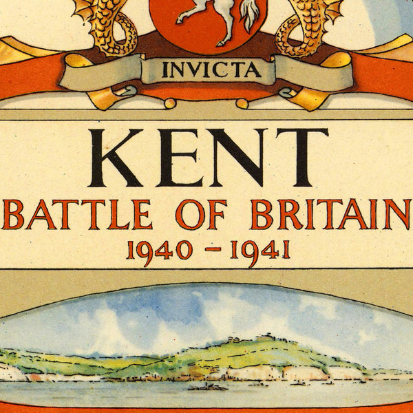 Battle of Britain, 1940, Kent, England, WWII Pictorial Map