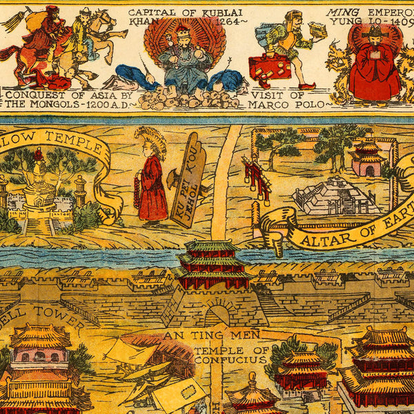 Beijing, 1936, A Map & History of Peiping, Peking, China, Vintage Pictorial Map