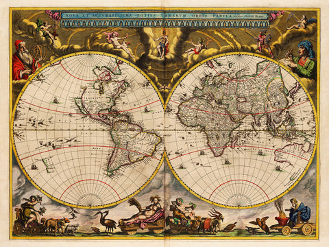 World, 1664, Blaeu, Nova & Accuratissima (II), Antique Map