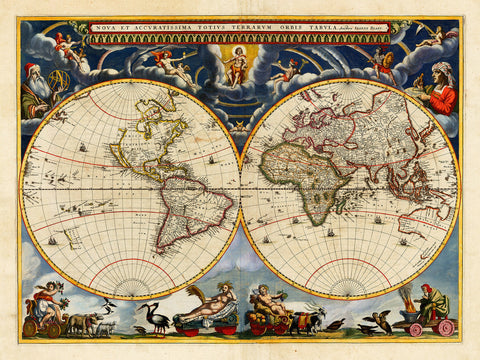 World, 1664, Blaeu, Nova & Accuratissima (I), Antique Map