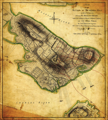 Boston, 1775, Bunker Hill, Battle, Plan of Action, Revolutionary War Map