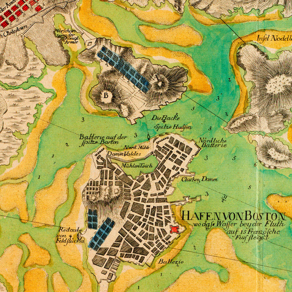 Boston, 1776, Boston Harbor, Revolutionary War Map