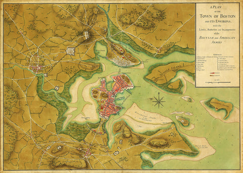 Boston, 1776, Plan of Siege, Revolutionary War Map