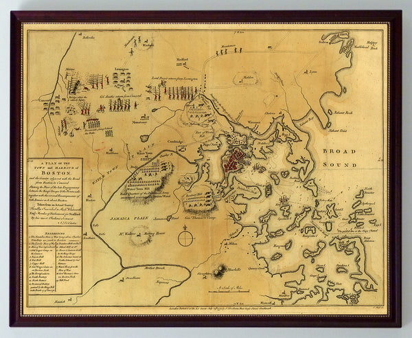 Boston, 1775,  Siege, Battle of Lexington & Concord, Framed Revolutionary War Map
