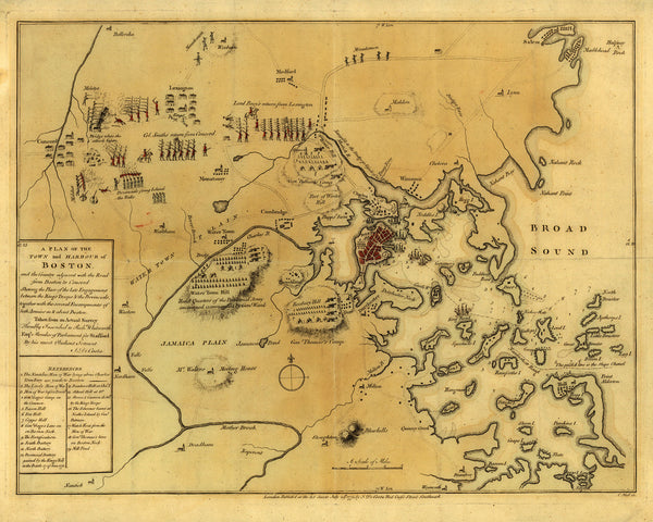 Boston, 1775, Siege, Battle of Lexington & Concord, Revolutionary War Map