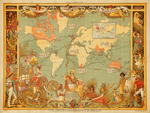 World, 1886, British Empire, Imperial Federation, Walter Crane, Vintage Map