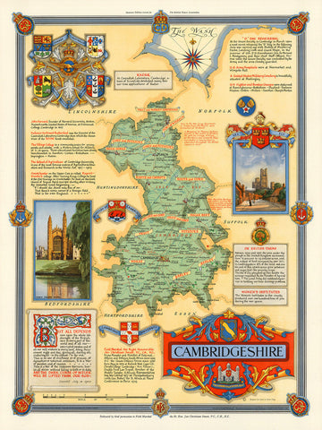 Cambridgeshire, England, WWII Era Map