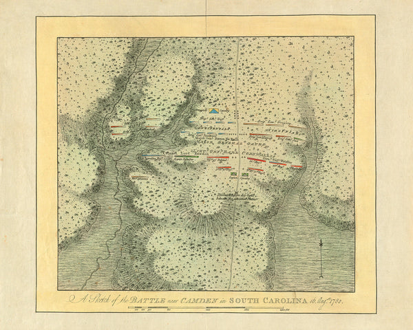 South Carolina, 1780, Battle of Camden, Revolutionary War Map