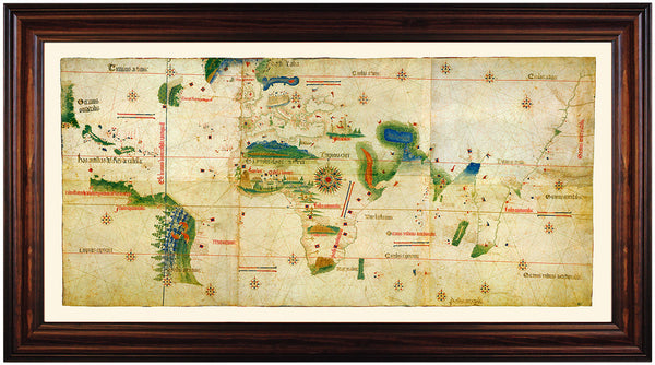 World, 1502, Cantino Planisphere, Antique Map, Framed