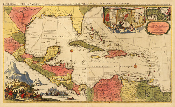 Caribbean, 1703 (1750s), Theater of War, European Claims, Covens & Mortier Map