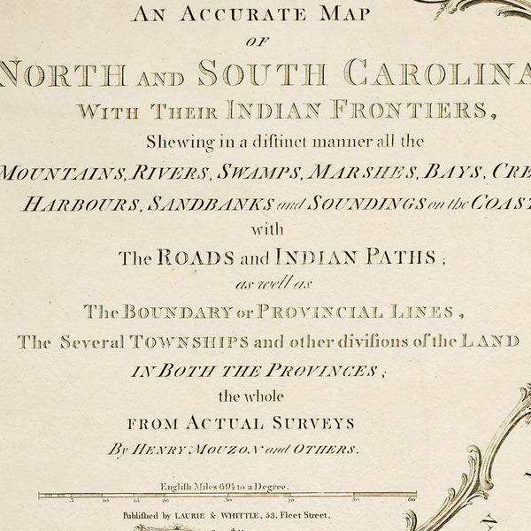 North & South Carolina, 1775, Henry Mouzon Map