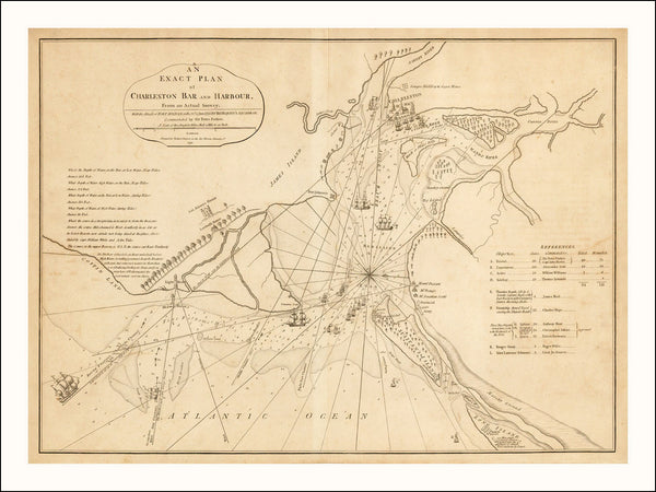South Carolina, 1776, Charleston, Siege, Battle of Fort Sullivan, Revolutionary War Map