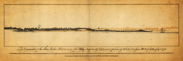 South Carolina, 1776, Charleston, Sullivan's Island, View, Old Map