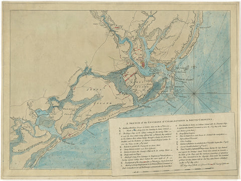 South Carolina, 1780, Charleston & Environs, Revolutionary War Chart