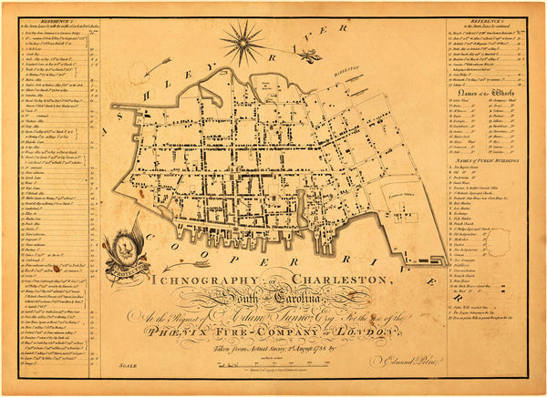 South Carolina, 1788, Charleston, Ichnography, Edmund Petrie Plan
