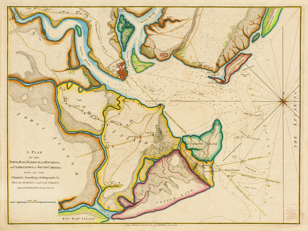 South Carolina, 1780, Charleston & Harbor, Revolutionary War Era Chart