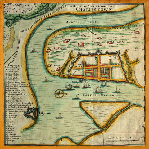South Carolina, 1711, Charleston, Town & Harbor, Old Plan