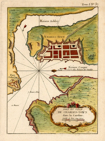 South Carolina, 1764, Plan of Charleston, Port et Ville de Charles-Town, Bellin Map