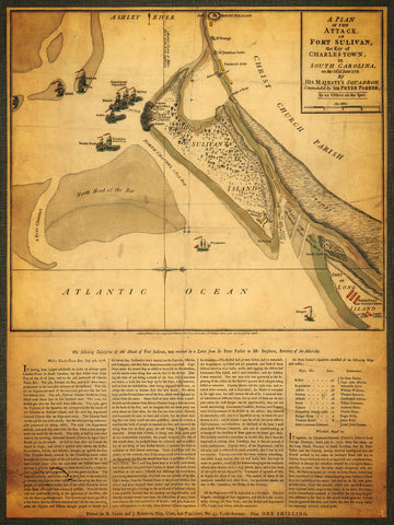 South Carolina, 1776, Battle of Fort Sullivan, Charleston, Revolutionary War Map