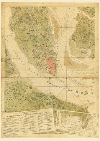 South Carolina, 1780, Siege of Charleston, Harbor, Revolutionary War Map