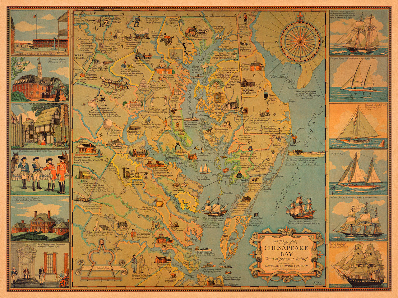 Chesapeake Bay Pictorial Historical Map Battlemaps Us Explore the chesapeake bay including maps of the rivers and access points, plus learn about the cities and towns that surround the bay rachel cooper is a travel writer who has lived in the washington, d.c., area for more than 25 years. chesapeake bay pictorial historical