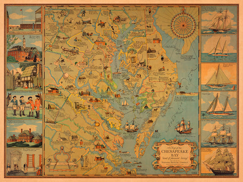 Chesapeake Bay, Pictorial Historical Vintage Map