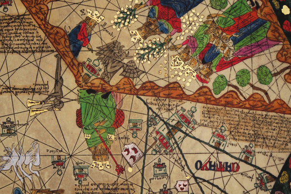 Medieval Map, All Kingdoms of the World, Catalan Atlas, 1375, 4-panel Framed Set
