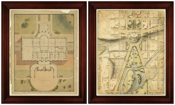 Washington, D.C., 1800s, White House, US Capitol Plans, Framed