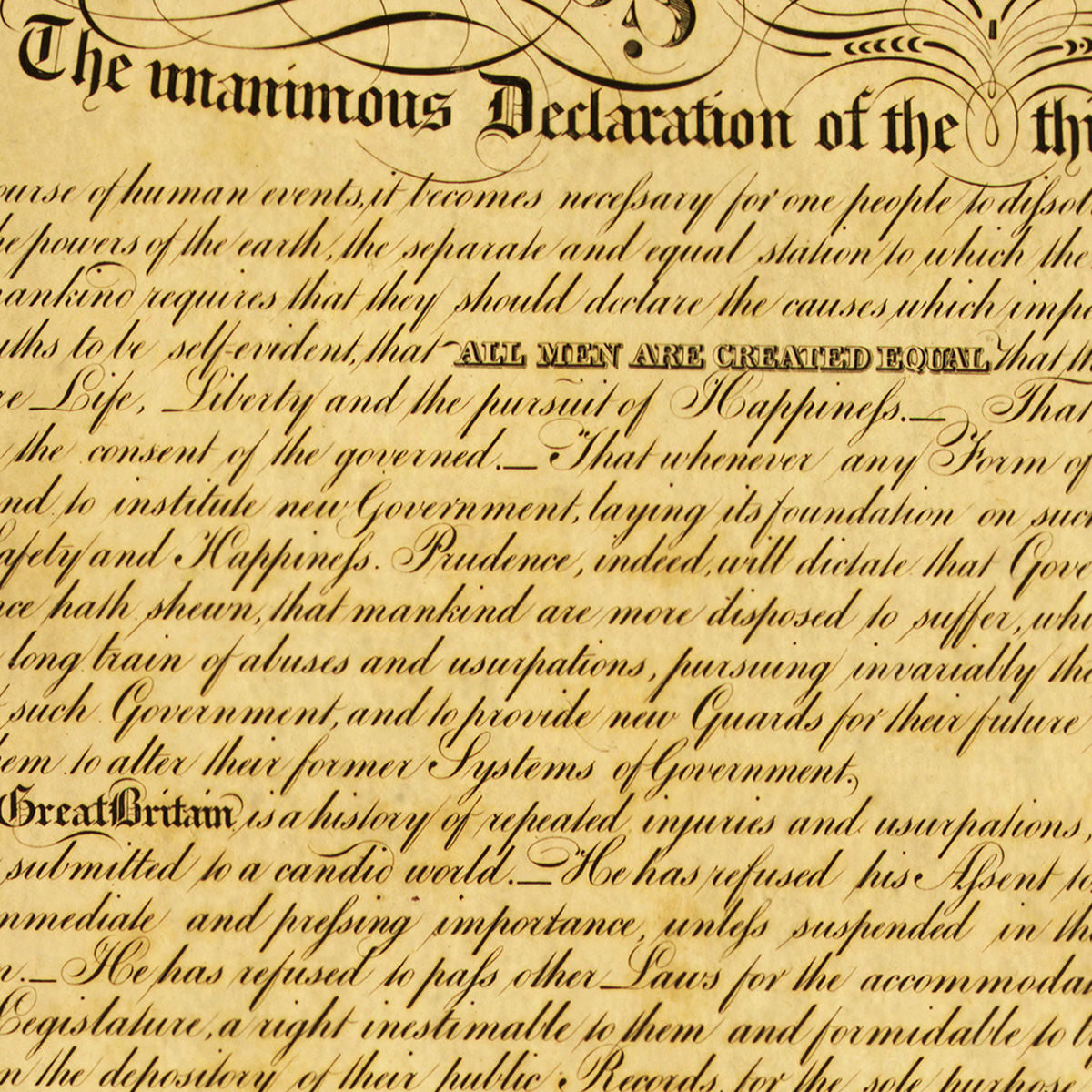 framed premium edition of the declaration of independence