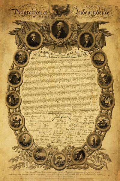 Declaration of Independence, Premium Edition, Large Size, Custom Framed