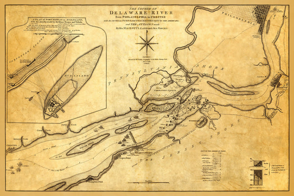 Delaware River, 1776–1777, New York, New Jersey, Philadelphia, Revolutionary War Map
