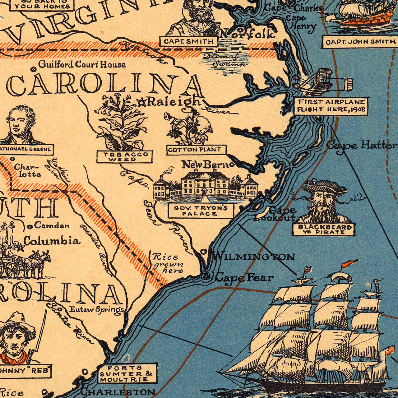 Historical Pictorial Map Of The Eastern United States Battlemapsus - Us Map 1908