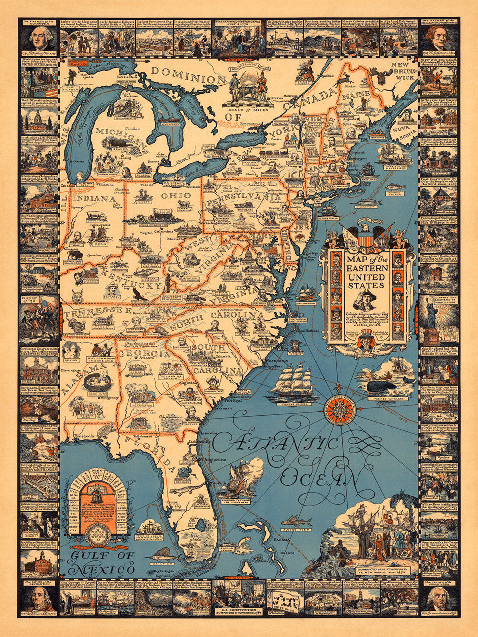 Historical Pictorial Map of the Eastern United States | Battlemaps.us