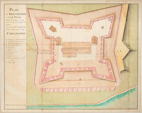 North Carolina, 1767, Plan of Fort Johnston, John Collet