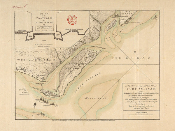 South Carolina, 1776, Charleston, Fort Moultrie, Fort Sulivan, Revolutionary War Map