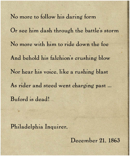 General John Buford, Soldier's Memorial poem