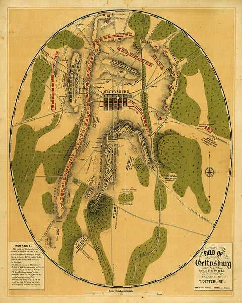 Gettysburg, 1863, Battle, Ditterline, Civil War Map