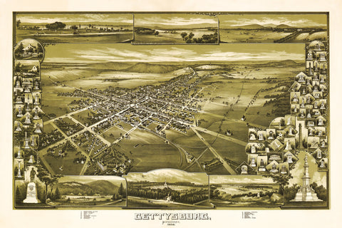 Gettysburg, 1888, Memorials, Bird's Eye View Map