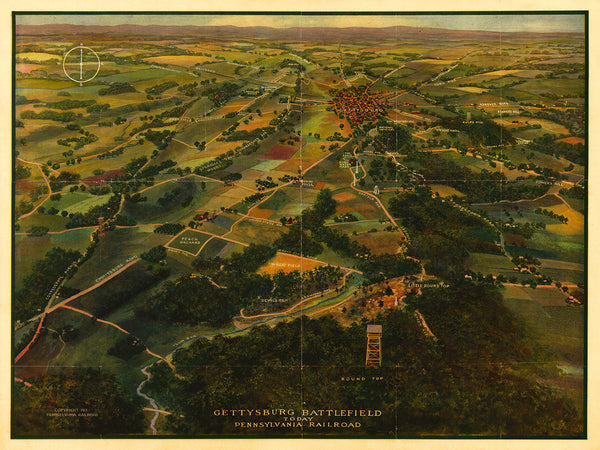 Gettysburg, 1913, Battlefield, Bird's Eye View, Anniversary Map