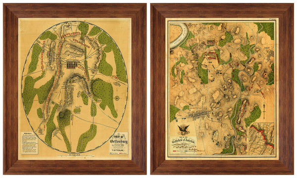 American Civil War Antietam & Gettysburg Framed Maps Set