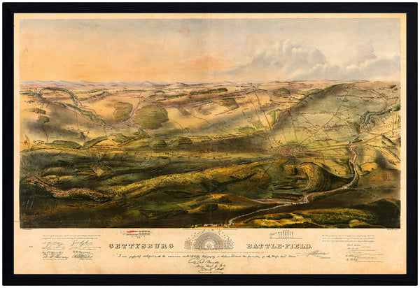 Gettysburg, 1863, Battlefield Bird's Eye View, Framed