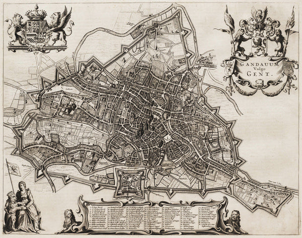 Ghent, 1657, Gand, Gandavum Vulgo Gent, Janssonius, Old Map