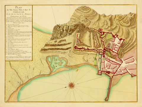 Gibraltar, 1779, Great Siege of Gibraltar, Plan, Old Map