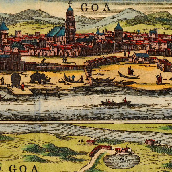 Goa, India, 1672, Plan & View, Baldæus, Old Map