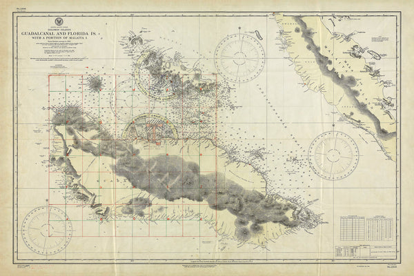 Guadalcanal, 1942, Solomon Islands, South Pacific, WWII Map