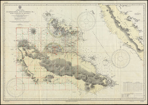 Guadalcanal, 1942-43, Solomon Islands, South Pacific, WWII Map