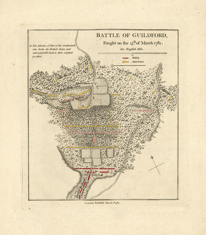 North Carolina, 1781, Guilford, Battle, Revolutionary War Map (I)