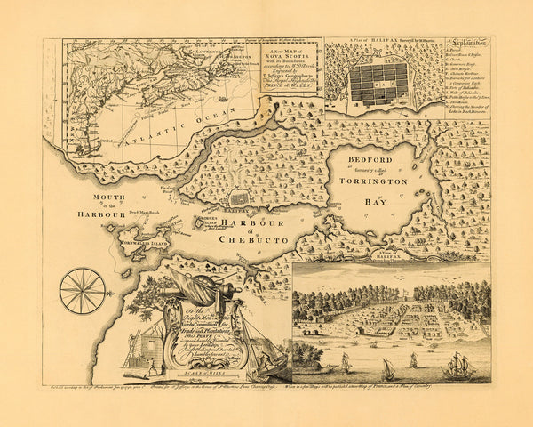 Canada, 1750, Halifax, Nova Scotia, Plan, View & Map (II)