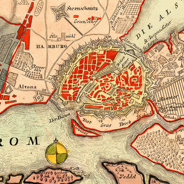 Hamburg, 1720, City Plan & View, Germany, Homann Map (I)