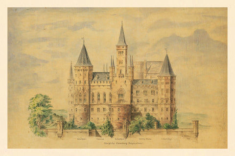 Germany, 1873, Hohenzollern Castle, Watercolor View